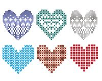 Knitted graphic heart clipart set Stock Image