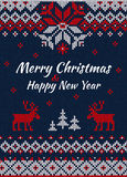Knitted Greeting card or Invitation to  X-mas party. Merry Chris Stock Photography