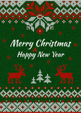Knitted Greeting card or Invitation to  X-mas party. Merry Chris Stock Images