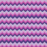 Knitted ha barrato il modello bianco rosa Fondo della lana di inverno Immagini Stock
