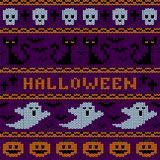 Knitted Halloween seamless pattern. Stock Photography