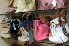 Knitted handbags royalty free stock image