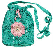 Knitted handmade Gift Bag Royalty Free Stock Images