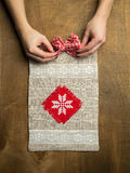Knitted handmade Gift Bag Stock Images