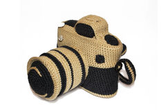 Knitted handmade photo camera Stock Image