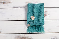 Knitted handmade scarf. Royalty Free Stock Image