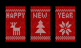 Knitted happy new year vector greeting cards Royalty Free Stock Images