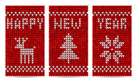 Knitted happy new year vector greeting cards Royalty Free Stock Image