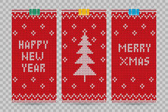 Knitted happy new year vector greeting cards Royalty Free Stock Photos
