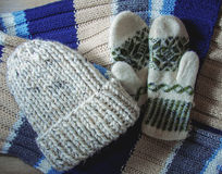 Knitted hat, gloves and scarf Stock Images