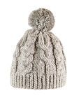 Knitted hat handmade. Knitting hat gray handmade with large braids Stock Photography