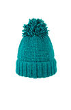 Knitted hat handmade. Winter soft warm blue knitted hat with braids patterns handmade isolated Stock Photography