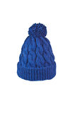 Knitted hat handmade. Winter soft warm blue knitted hat with braids patterns handmade isolated Royalty Free Stock Photography