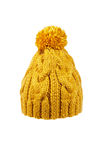 Knitted hat handmade. Winter soft warm yellow knitted hat with braids patterns handmade isolated Royalty Free Stock Photos