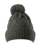 Knitted hat isolated on white background .hat with pompon . bla. Ck hat Stock Photography