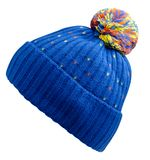 Knitted hat isolated on white background. Hat with pompon Royalty Free Stock Photography