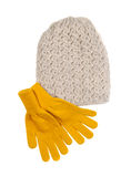 Knitted hat and pair of gloves Stock Images