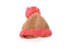 Knitted hat with pompom isolated on white background Stock Images