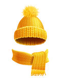 Knitted Hat And Scarf Flat Illustration Royalty Free Stock Photography