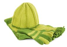Knitted hat, scarf and gloves set Stock Photo