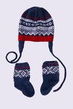 Knitted hat and socks. Homemade hat and socks in norwegian marius pattern Royalty Free Stock Photography