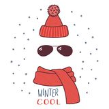 Knitted hat, sunglasses, muffler illustration. Hand drawn vector illustration of a warm funny knitted hat, sunglasses, muffler, text Winter cool. Isolated Stock Photography