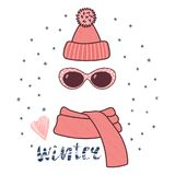 Knitted hat, sunglasses, muffler illustration. Hand drawn vector illustration of a warm funny knitted hat, sunglasses, muffler, text Winter, heart. Isolated Royalty Free Stock Photos