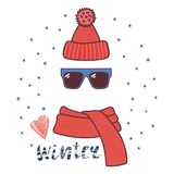 Knitted hat, sunglasses, muffler illustration. Hand drawn vector illustration of a warm funny knitted hat, sunglasses, muffler, text Winter, heart. Isolated Stock Photos