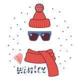 Knitted hat, sunglasses, muffler illustration Stock Photos