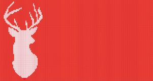 Knitted head deer silhouette. Vector illustration. Stock Photos