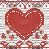 Knitted heart. Knitted pattern with heart, birds in love, decor and appliqie Stock Images