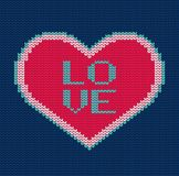 Knitted heart. Vector seamless pattern for sweater.