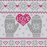 Knitted heart LOVE and mittens Stock Images