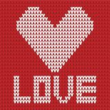 Knitted heart red and white Stock Photos