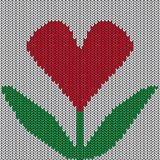 Knitted heart. Valentine day card Stock Image