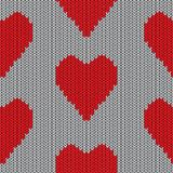 Knitted heart. Valentine day card Stock Images