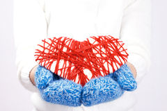 Knitted heart valentine Stock Image