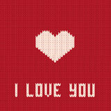 Knitted heart. Valentines day card. Stock Photos