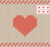 Knitted heart. Vector illustration. Seamless. Royalty Free Stock Photos