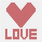 Knitted heart white and red Stock Photography