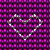 Knitted hearts. Vector heart on seamless pattern background Royalty Free Stock Image