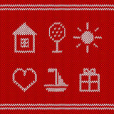 Knitted icons Stock Images
