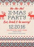 Knitted Invitation to the Christmas X-mas party.Handmade knittin Stock Photos