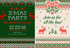 Knitted Invitation to the Christmas X-mas party. Front and back Royalty Free Stock Image