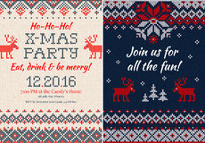 Knitted Invitation to the Christmas X-mas party. Front and back Royalty Free Stock Photography