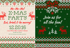 Knitted Invitation to the Christmas X-mas party. Front and back Royalty Free Stock Photos