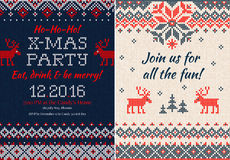 Knitted Invitation to the Christmas X-mas party. Front and back Stock Image