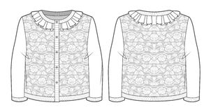 Knitted jacquard cardigan. With roses and ruffles at neckline vector illustration