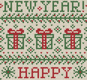 Knitted jacquard: Happy New Year! Stock Image