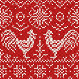 Knitted jacquard seamless pattern with cocks Stock Photo